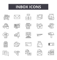 inbox line icons signs set linear vector image