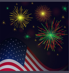 independence day golden reg green fireworks and vector image