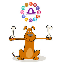 Libra zodiac sign with cartoon dog vector
