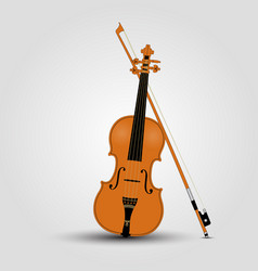 light brown violin and bow vector image