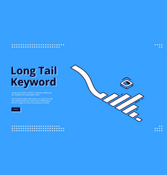 Long tail keyword banner with isometric graph vector