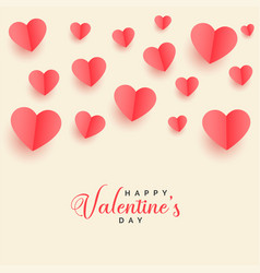 lovely flying papercut hearts valentines day vector image