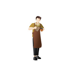 Male barista making coffee vector