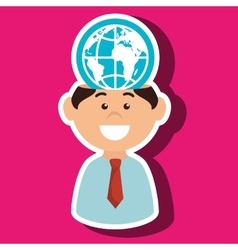 Man and world isolated icon design vector