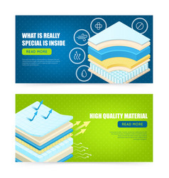 Mattress layers material banners vector