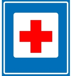 Medical cross sign icon Blue background vector