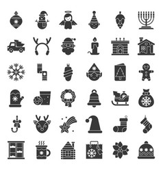 merry christmas icon set 5 solid style vector image