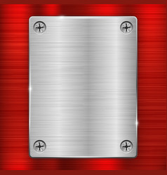 Metal background with iron plate with screws vector
