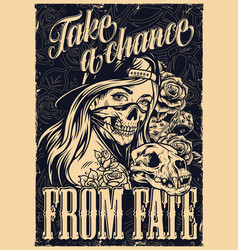 monochrome chicano tattoo vintage template vector image