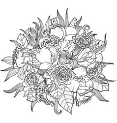 monochrome of bouquet with vector image