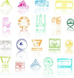 Mountaineers peaks stamps vector