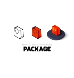 Package icon in different style vector image