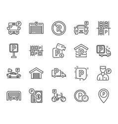 Parking line icons set of garage valet servant vector