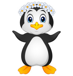 Penguin hawaiian cartoon vector