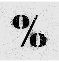 Percent symbol grunge vector image