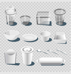 plastic dishware or disposable tableware 3d vector image