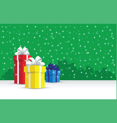 Presents on a snowy background vector