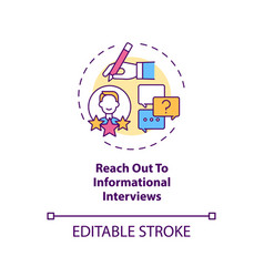 Reach out to informational interviews concept icon vector