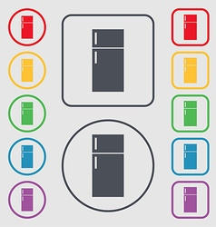 Refrigerator icon sign Symbols on the Round and vector