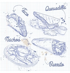 Scetch of mexican food on a notebook page vector image