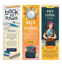 School teacher at class blackboard banners vector