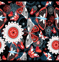 seamless summer pattern with butterflies and vector image