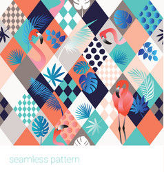 Seamless tropical pattern with flamingo vector