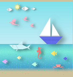 Seascape with colorful fishes and ships vector