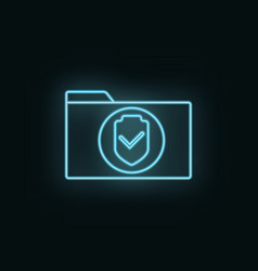Secure folder neon icon web development icon vector