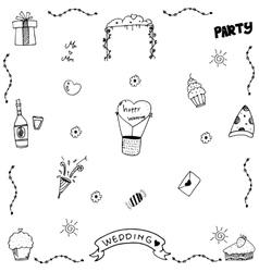 Set wedding party doodle vector image