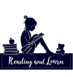 Silhouette cute little girl reading book read vector