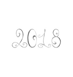 silver happy new year 2018 vector image