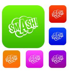 Smash comic book bubble text set color collection vector