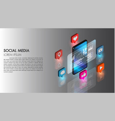 social media flat 3d isometric concept icon vector image