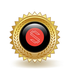 Substratum cryptocurrency coin gold badge vector