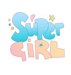 Super girl cartoon lettering cartoon font vector