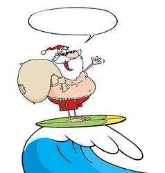 Surfing santa cartoon vector image