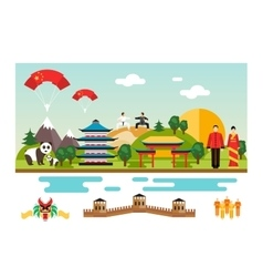 Symbols and landmarks of China vector image