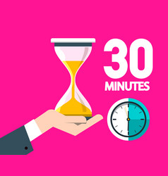 thirty minutes clock with hourglass vector image