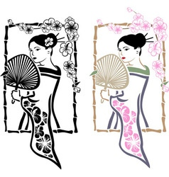 Traditional Japanese Geisha with fan vector