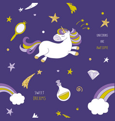 unicorn on the night sky seamless pattern with vector image