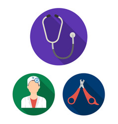 veterinary clinic flat icons in set collection for vector image