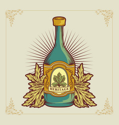 vintage a glasses wine logo vector image
