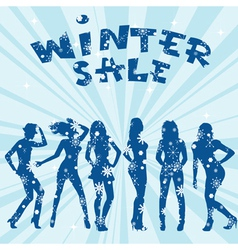 Winter sale advertising with women silhouettes vector image