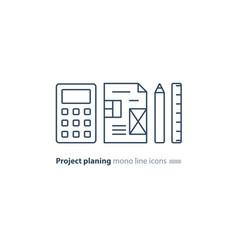 business plan concept design blueprint calculator vector image