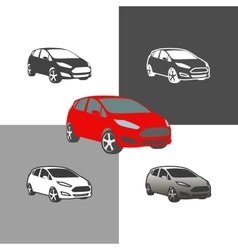 car compact city vehicle silhouette icons colored vector image