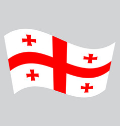 flag of georgia waving on gray background vector image