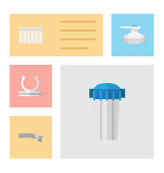 flat icon plumbing set of flange corrugated pipe vector image vector image