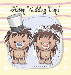 hedgehog bride and hedgehog groom vector image vector image
