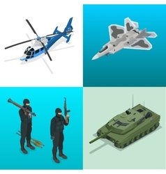 Isometric icons helicopter aircraft tank vector image